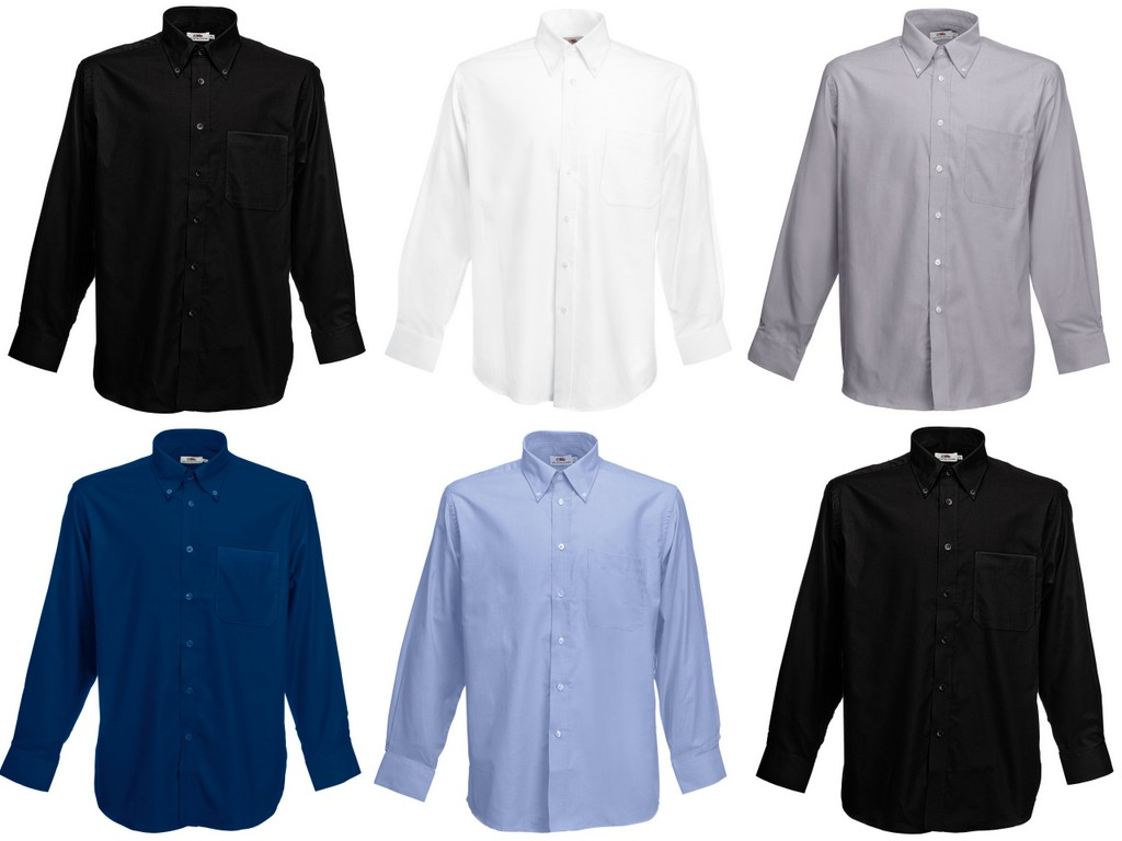 SS402-E Fruit of the Loom Long Sleeve Oxford Shirt – Embroidered