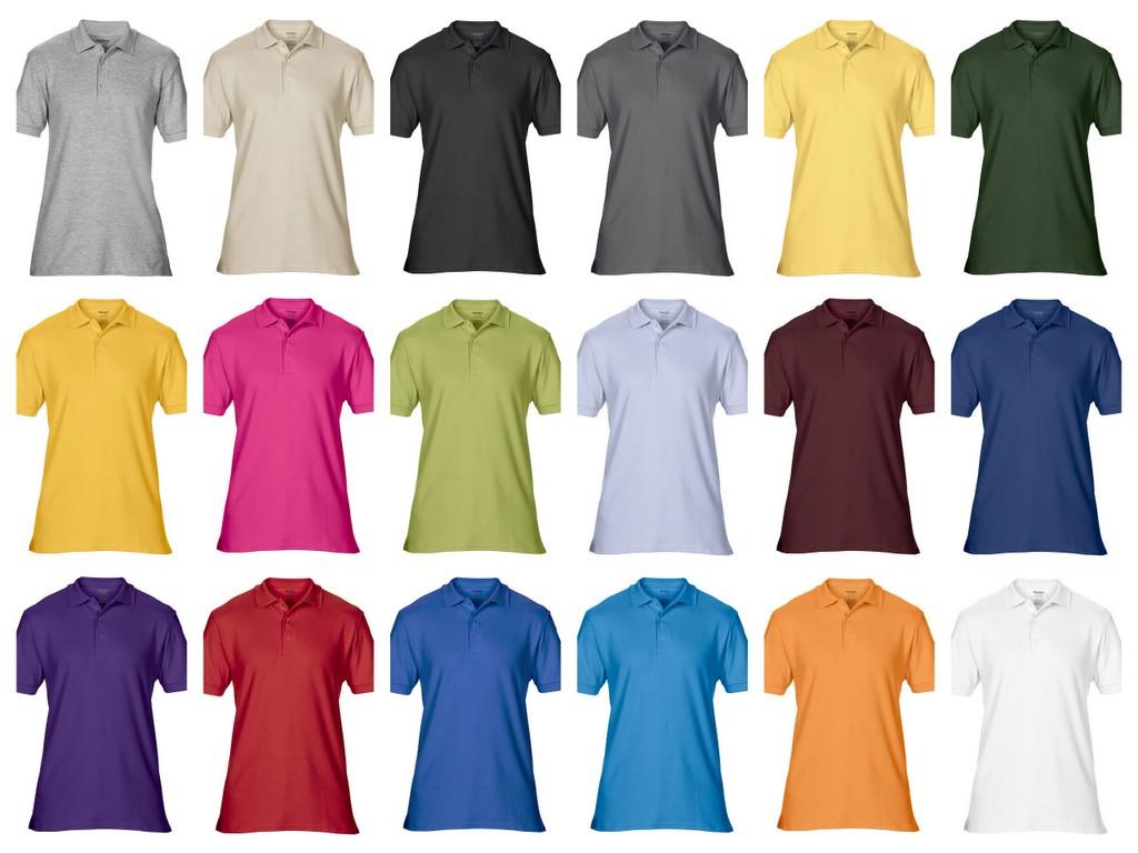 GD43-P Gildan Premium Cotton Mens Double Pique Polo Shirt Printed