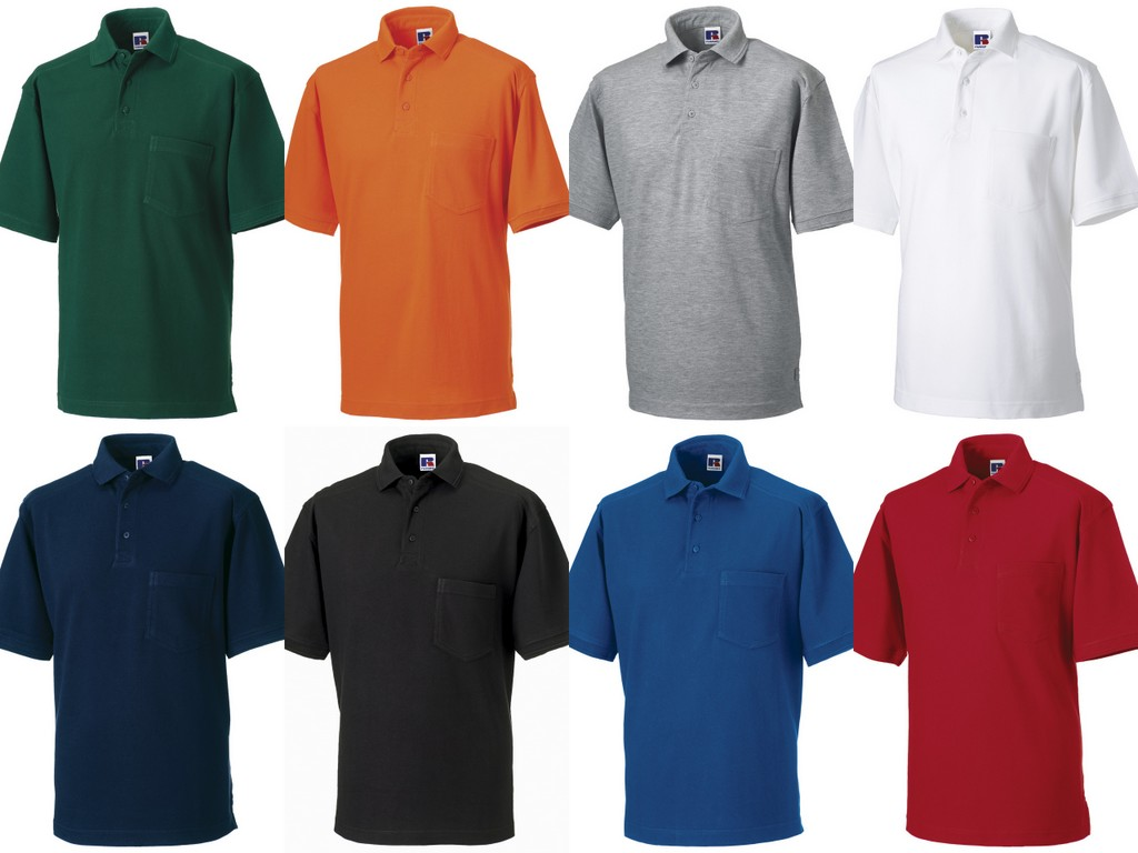 011M-P Russell Heavy Duty Pique Polo Shirt Printed