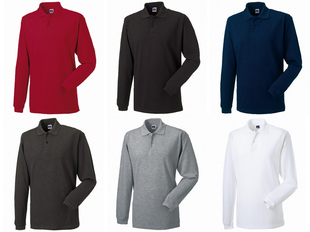 569L Russell Classic Long Sleeve Cotton Pique Polo Shirt 53a103602370