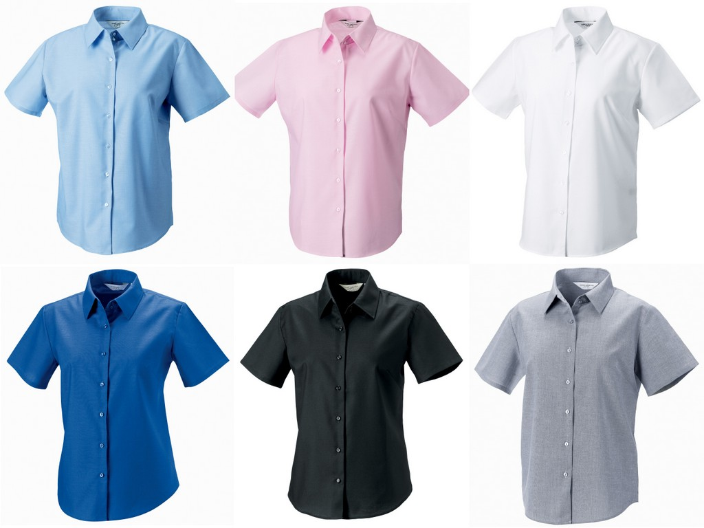 J933F - 933F Russell Collection Ladies Short Sleeve Easy Care Oxford Shirt