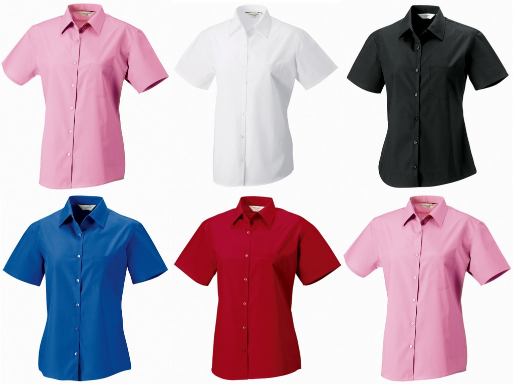 J937F - 937F Russell Collection Ladies Short Sleeve Easy Care Cotton Poplin Shirt
