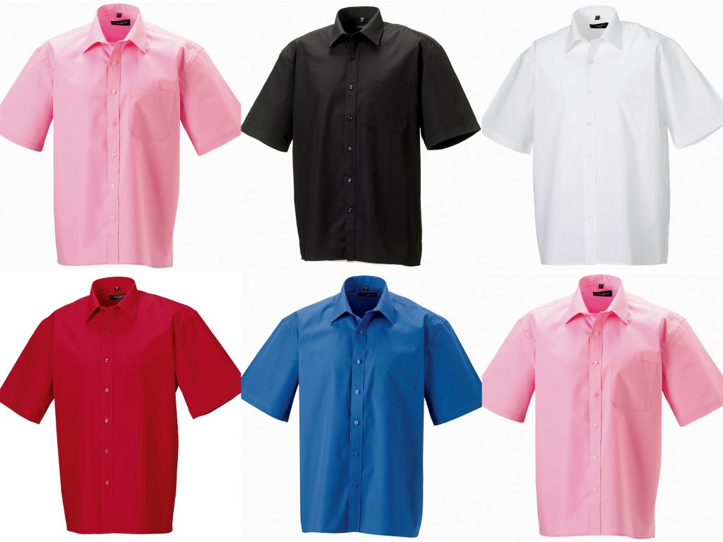 J937M - 937M Russell Collection Short Sleeve Easy Care Cotton Poplin Shirt