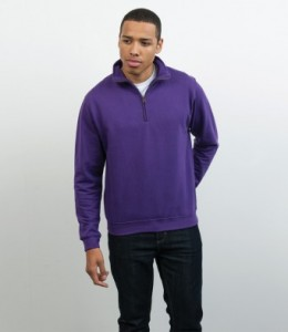 JH046 AWDis Sophomore Zip Neck Sweatshirt Embroidered