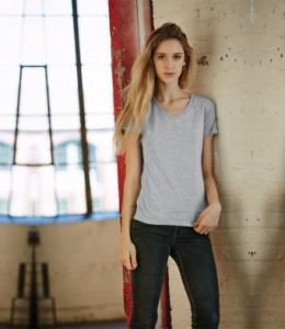 AV106F Ladies Fashion Basic V Neck T-Shirt