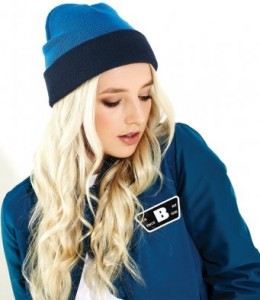 BB421-E Beechfield Reversible Contrast Beanie - Embroidered